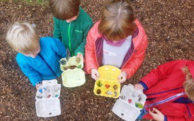 Frauenwerkstatt und Montessori-Kinder im grünen Klassenzimmer von ELAN